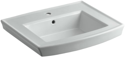 rcher Pedestal Bathroom Sink Basin with Single-Hole Faucet Drilling, Ice Grey ()
