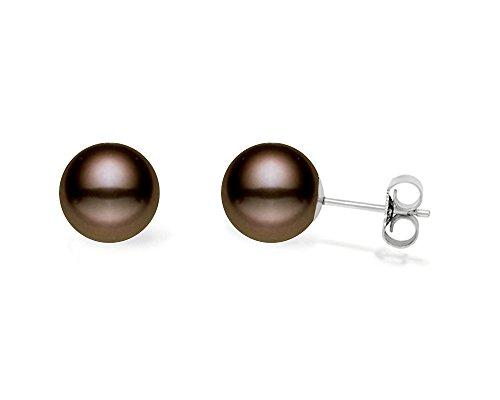 chocolate pearl stud earrings - 1