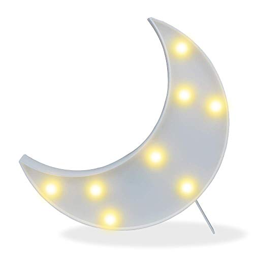 Pooqla DELICORE Decorative LED Crescent Moon Marquee Sign - Moon Marquee Letters LED Lights - Nursery Night Lamp Gift for Children (White)
