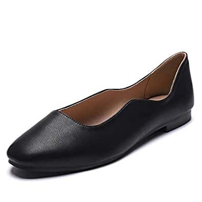 CINAK Women's Ballet Flats Comfort Walking Breath Slip-on Classic Round Toe Dress Shoes Black