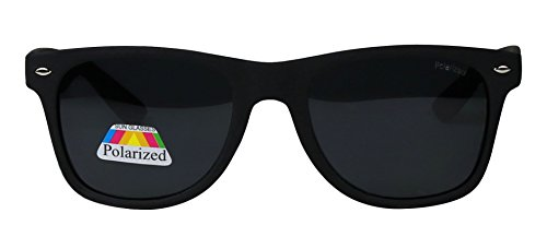 Basik Eyewear - Polarized Retro 80's Classic Wayfarer Driving Matte Sunglasses (Matte Black Frame, Black - Extra Large Sunglasses Wayfarer