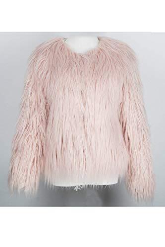 Donna Cappotto Chic Elegante Invernali Pink Lunga Giubotto Imbottita Manica Giacca Ragazza Party Di Moda Unico Giaccone Lanoso Monocromo Pelliccia YyRwKEqB