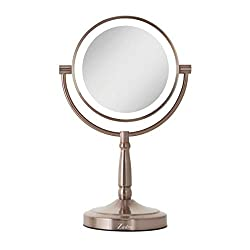 Zadro Cordless Rose Gold Dual-Sided LED Lighted Vanity Mirror with 1X & 10X magnification.