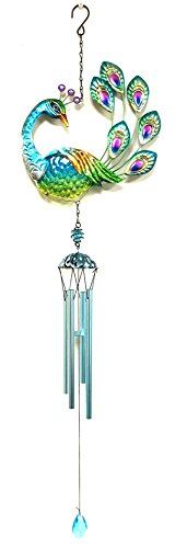 Peacock Displays - Bejeweled Display Peacock w/ Glass Wind Chime tubes & Home Decor