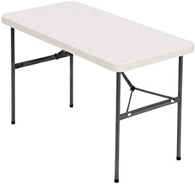 Realspace Molded Plastic Top Folding Table, 4 W, Platinum