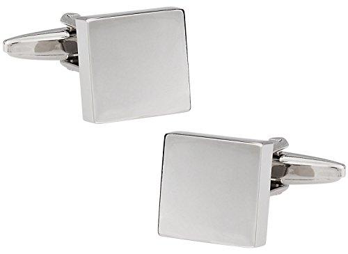 (Cuff-Daddy Classic Silver Polished Square Cufflinks with Presentation Box)