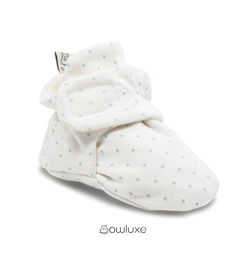 Owluxe Organic Cotton Baby Booties Crib Shoes with Kick Proof, 0-6 Months, Blue Polka Dot, White, Unisex (Booties Cotton)
