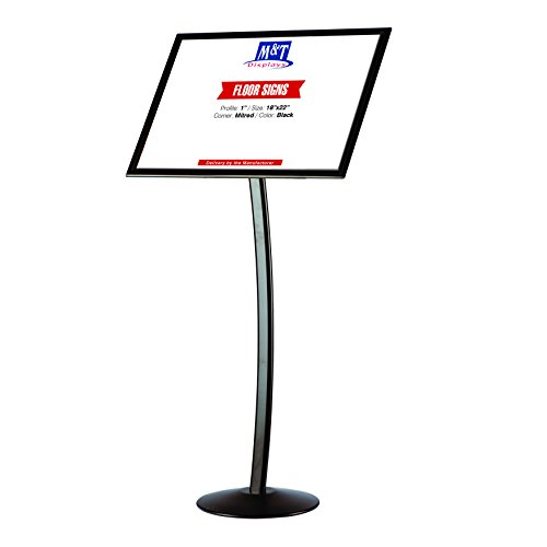 Curved Advertising Display Sign Stand for Floor, 18x22 Poster Size, Black, Landscape & ()