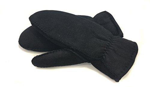 Himaメリノ羊ムートンミトン手袋フルスキンブラック
