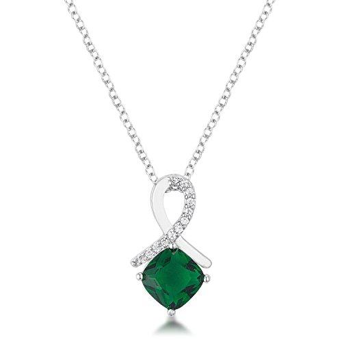 Glam Jewels 8mm Cushion Cut CZ Cubic Zirconia Emerald Fashion Pendant Rhodium Plated Brass Prong Setting (Cut Pendant Setting Emerald 8mm)