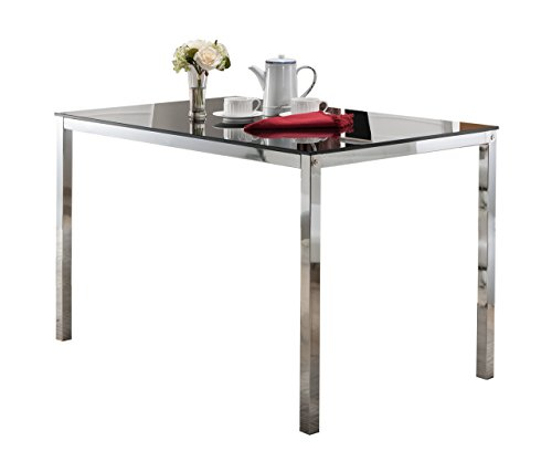 - InRoom Designs D917-05 Kings Brand Furniture - Rectangle Modern Dining Table with Glass top, Chrome Base,