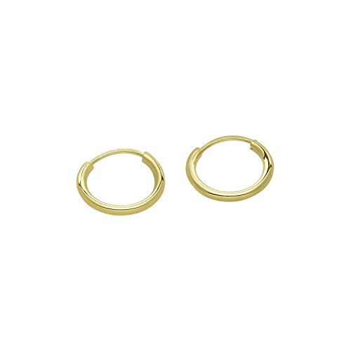 14k Gold Small Endless Hoop Earrings for Ears, Cartilage, Nose or Lips, (0.4 Diameter)-10mm (yellow-gold)