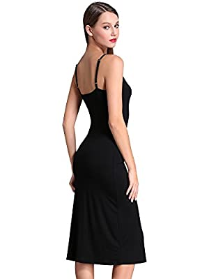 MsBasic Women's Adjustable Spaghetti Straps Long Cami Slip Dress