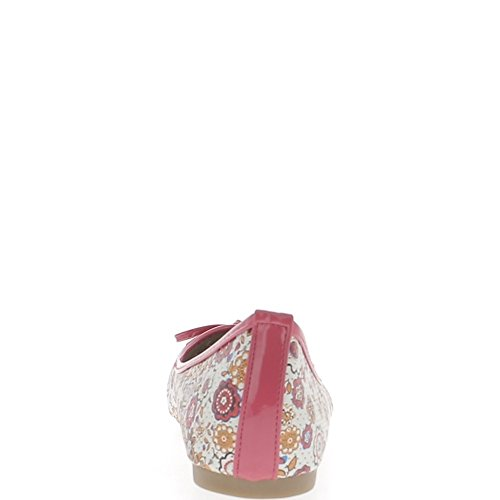 Ballerines Multicolores De Grande Taille Avec Nœud Et Bordure Rose Micro Perforée