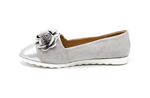 Oh My Shop SHP123 * Mocassins Slippers Effet Daim Gris avec Multi Fleurs, Bout Satiné et Semelle Blanche