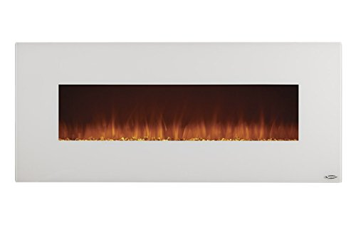 touchstone ivory wallhanging heated electric fireplace 50inch wide log or crystal flame 1500w white
