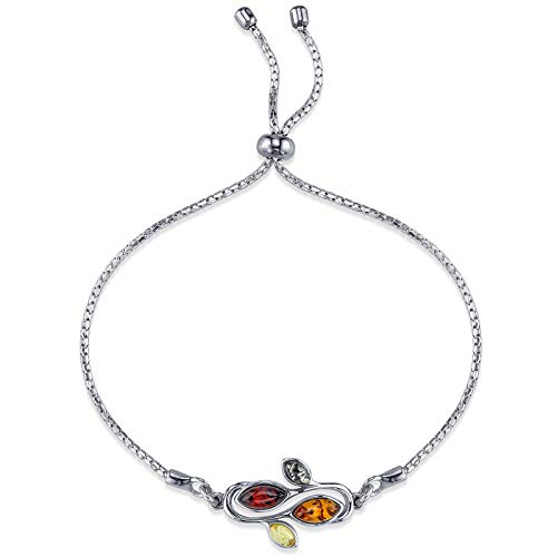 Sterling Silver Multi Color Cognac Baltic Amber Adjustable Swirl Leaf Bracelet up to 8 inches