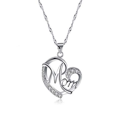 Lebms Women Precious Gift for Mothers Day Necklace Pendant, Full of Small Cz Heart Shaped MOM Pendant Necklace