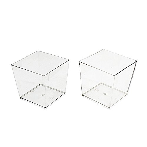 Exquisite Clear Plastic Mini Square Mousse Dessert Cups 40 Ct - 3.6 oz 3 Oz Square Votive Candle