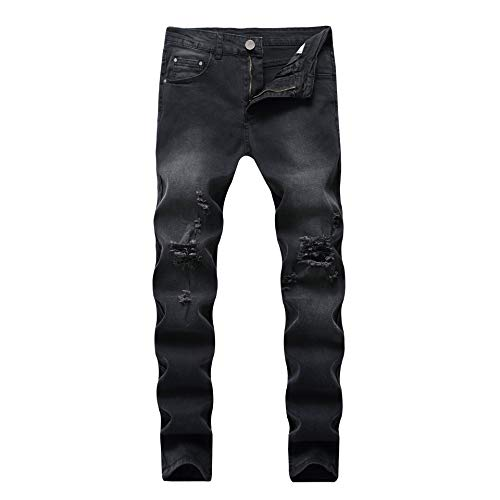 Distressed Mens Jeans - WULFUL Men's Skinny Slim Fit Ripped Distressed Stretch Jeans Pants