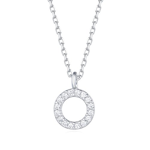 Carleen 18K White Gold Plated 925 Sterling Silver Round CZ Cubic Zirconia Circle Dainty Pendant Necklace for Women Girls with 15.75