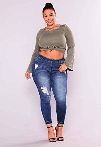 8f38bf99c538c Image Unavailable. Image not available for. Color  FelixStore Plus Size  Jeans Women High Waist Pencil Blue Denim Pants Women Ripped Hole Washed  Fashion