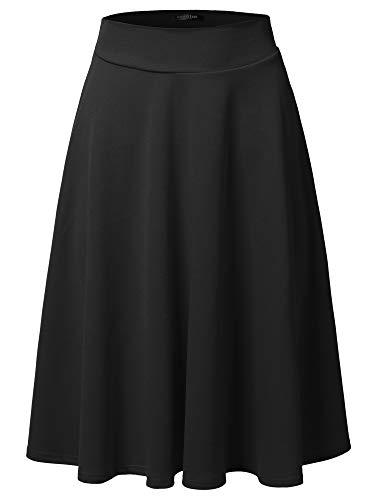 SSOULM Women's High Waist Flare A-Line Midi Skirt Black M ()