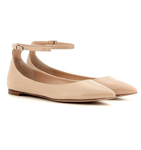 Sammitop Women's Pointed Toe Flat Heel Ankle Strap Dress Shoes Ballet Flats Beige outlet the cheapest cwY8X