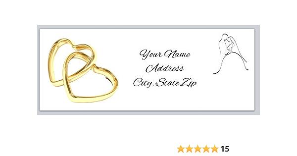 1 SHEET 30 labels mr /& mrs heart wedding engagement return address mailing label stationary sticker Clear Kraft White