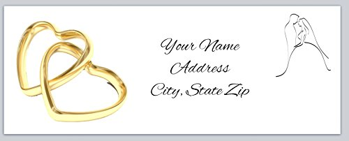 150 Personalized Return Address Labels Wedding Heart Rings and Couple Silhouette (ac 931)