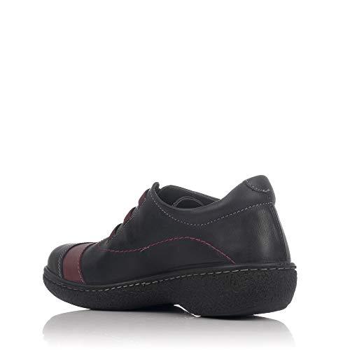 Negro 11861 Combi Mujer Elasticos Zapato AZAÑA Piel LAURA PgBqA