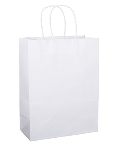 BagDream 10''x5''x13'', Debbie, 100Pcs White Kraft Paper Bags, Shopping, Mechandise, Retail, Party, Gift Bags, 100% Recycled Paper by BagDream