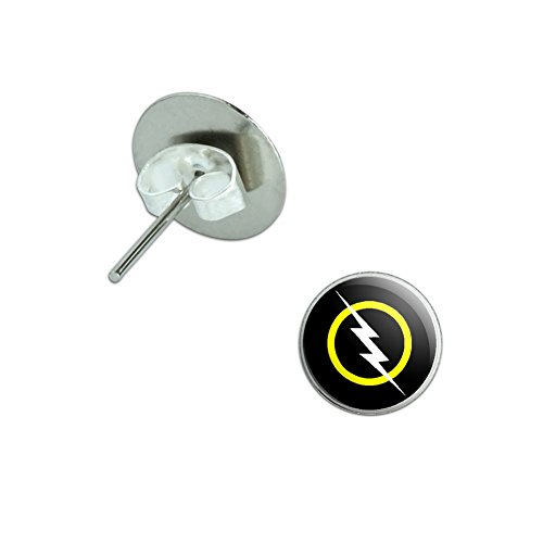 [White Lightning Bolt Novelty Silver Plated Stud Earrings] (Lightning Bolt Costumes)
