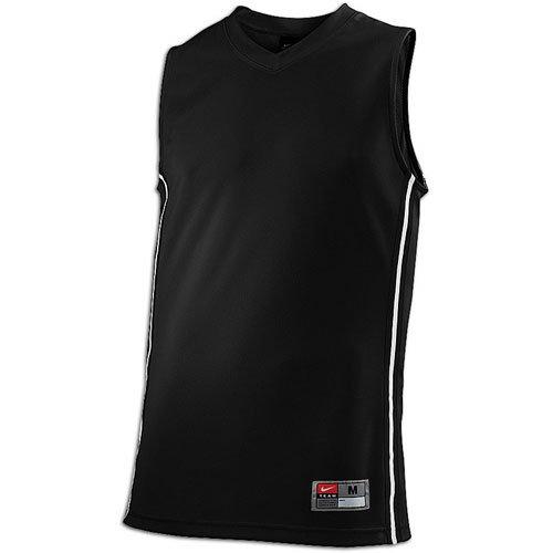Nike Mens Baseline Sleeveless Basketball Jersey (Large, Black/White)