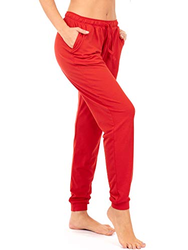 (DEAR SPARKLE Jogger with Pockets for Women Drawstring Lightweight Sweats Yoga Lounge Pants + Plus Size (P7) (Red, Medium))