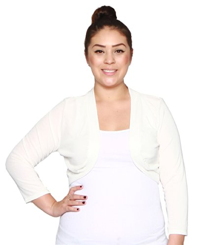 Libian Plus Size 3/4 Sleeve Cropped Bolero Shrug (1X, White)