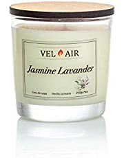 VEL AIR. Vela Aromática, Velas Aromaticas, Jasmine Lavander (Jazmín y Lavanda) Cera de soya, Ecologicas. 250 gr/ 9 oz.