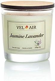 VEL AIR. Vela Aromática, Velas Aromaticas, Jasmine Lavander (Jazmín y Lavanda) Cera de soya, Ecologicas. 250 g