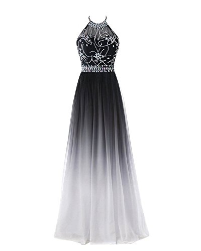 Chiffon Beaded Long Halter Gown - 9