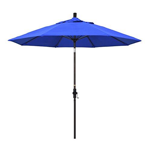 California Umbrella 9' Round Aluminum Pole Fiberglass Rib Market Umbrella, Crank Lift, Collar Tilt, White Pole, Sunbrella Canvas