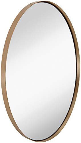 Bath Designer Vanity Contemporary - Hamilton Hills Contemporary Brushed Metal Wall Mirror | Oval Gold Framed Rounded Deep Set Design | Mirrored Hangs Horizontal or Vertical (24