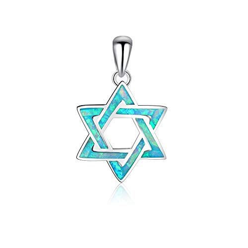 Lam Sence Sterling Silver 14mm Blue Create Opal and Star of David Pendant