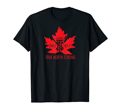 True North Strong Shirt Vintage Maple Leaf Gift T-Shirt (Canada Shirt Rugby)