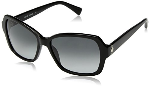 Cole Haan Women's Ch7007 Plastic Rectangular Sunglasses, Black, 56 - Cole Haan Sunglasses Womens