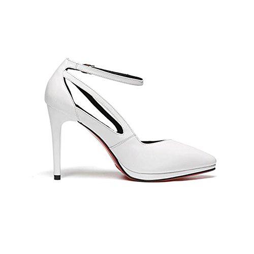 CJC Chaussure Cuir Un Bouton Boucle Pointu Peu Profond Bouche Étiquette Bien Haute Talon Chaussure (Couleur : Blanc, Taille : EU36/UK3.5) Blanc