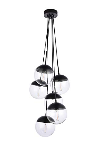 A1A9 Sphere Glass Pendant Lights with 6-Light, Modern Industrial Round Ball Globe Ceiling Light Fitting, E26 LED Chandelier Lamp Fixture for Kitchen Island, Bar, Dining Room, Counter, Cafe (Black)