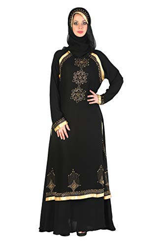 Sofias Abaya Women's Al Nida Fabric Burqa Set (Mm009_Black_Free Size)