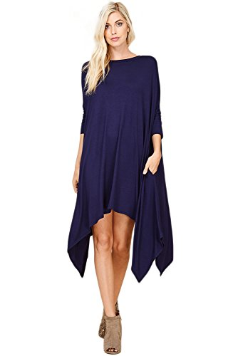 Annabelle Women's Basic Solid Rounded Neck 3/4 Sleeves Asymmetrical Hemline Tunic Dress With Side Pockets Blue Navy Large D5274B