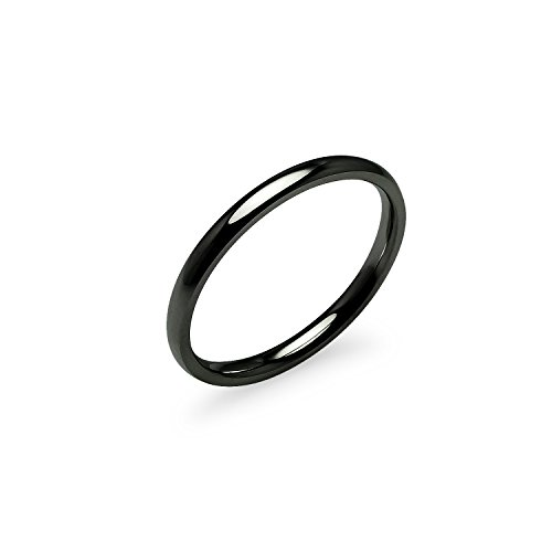 (Silverline Jewelry High Polish 2mm Comfort Fit Wedding Band Ring Stainless Steel Black Tone Size 5)