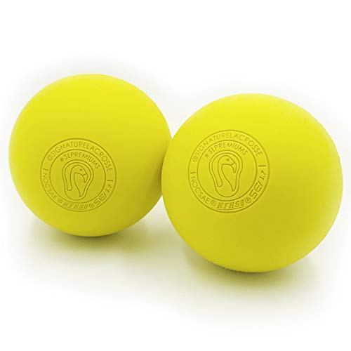 Signature Lacrosse Premium Lacrosse Ball Set Great for Myofascial Release, Trigger Point Therapy, Muscle Knots, and Yoga Therapy - Firm Rubber Scientifically Designed for Durability - 2 Yellow